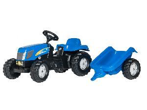Buy Online Tractores de juguete New Holland tractor infantil de juguete a pedales  t-7550 con remolque  second hand