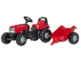 Pedales Tractor infantil de juguete a pedales Case con remolque Case IH