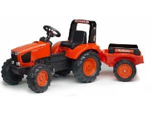 Tractores de juguete Kubota TRACTOR INFANTIL JUGUETE A PEDALES  M-135-GX+PALA+REMOLQUE