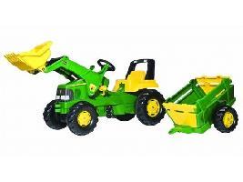Pedales Tractor infantil juguete a pedales JD Junior con pala y rem. balderas John Deere