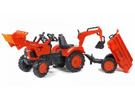 Pedales Tractor infantil juguete a pedales Kubota M-135-GX con remolque, pala y retro Kubota