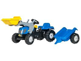 Pedales Tractor infantil de juguete a pedales NH NEW HOLLAND con remolque y pala New Holland