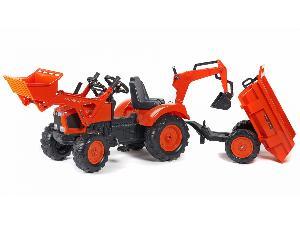 Vente Pédales Kubota tractor infantil juguete a pedales  m-135-gx con remolque, pala y retro Occasion