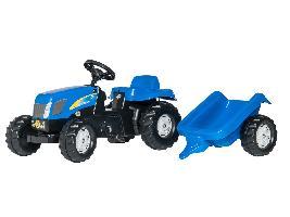 Tractores de juguete Tractor infantil de juguete a pedales New Holland T-7550 con remolque New Holland