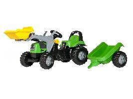 Tractores de juguete Tractor infantil de juguete a pedales DEUTZ con remolque y pala Deutz-Fahr