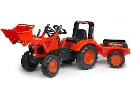 Pedales Tractor infantil juguete a pedales Kubota M-135-GX con remolque y pala Kubota