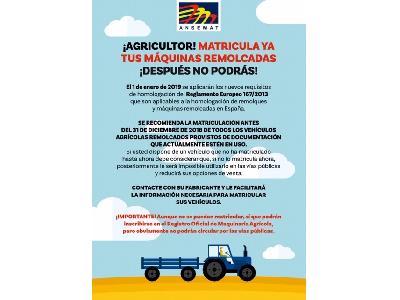 ¡ AGRICULTOR, MATRICULA YA TUS MÁQUINAS REMOLCADAS, DESPUÉS NO PODRÁS ! - 0