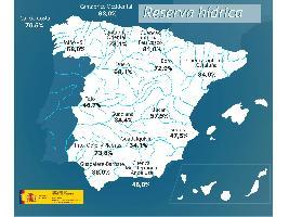 La reserva hídrica española se encuentra al 51,7 por ciento de su capacidad